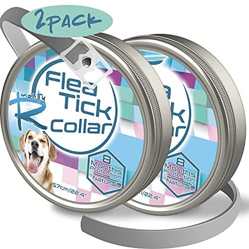 Rmolitty Collar Antiparasitario para Perro, contra Pulgas, Garrapatas y Mosquitos 8 Meses de Protección, 60cm para Pequeña Medio Grande Perro (2 Pack)