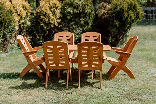 Gartenset STOLLDREW Lamel X 10 Hochwertige Tischgruppe und Sitzgruppe, Kiefer Massivholz Gartenset, Klappbare Gartenmoebel aus Holz, Gartentisch mit 6 Klappzstuhl (Teak)