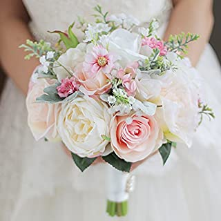 IFFO custom bride hand holding bouquet bouquet bride bridal bridesmaid wrist flower peony flower white rose petal DIY decoration