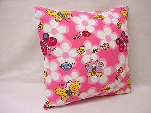 0 www.working-house.com (Textil / Cojines) Funda para COJIN Cama Sofa Infantil Mariposas Flores Rosa