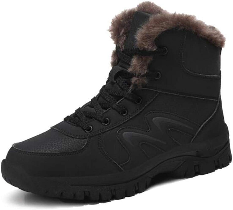 LCM Men's shoes Men's high gang velvet outdoor shoes waterproof anti-skid big code cotton shoes Black, brown,Black,9.5UK