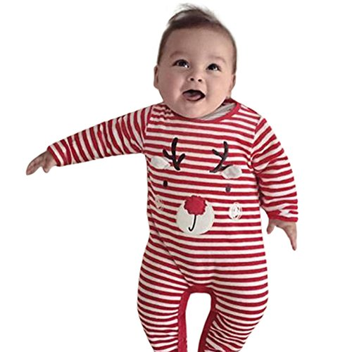 Homebaby - Bambino Ragazzo Delle Neonate Cervo Stampa Natalizia Pagliaccetto Tuta Abiti Da Pigiama Costume Di Natale Cartone Animato Invernali Regalo Bambini
