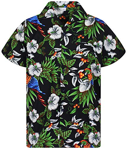 V.H.O. Funky Chemise Hawaienne, Cherry Parrot, Black, S