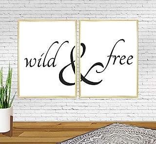Minitowz Wild and Free Printable Poster, Black and White, Dorm Decor, I,Printable File JPG, Black and White