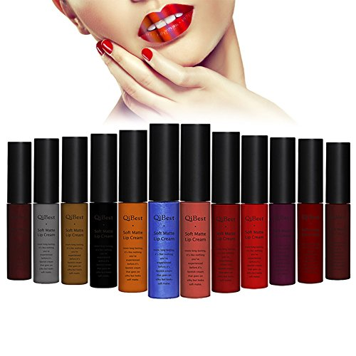 Molie 12pcs Matte de rouge à lèvres/Lot velours coloré imperméables couleurs lipgloss de haute qualité sexy rouge à lèvres