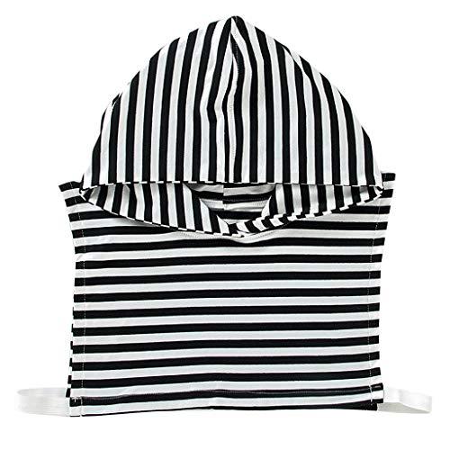 xian Mujeres Chica Vintage Negro Rayas blancas Impreso Cuello falso con capucha...