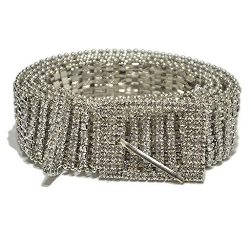 Panpany Cinture da Donna 1pcs Pieno Strass Moda Argento Catena Vita Brillante Cristallo Lombare Cintura Donna Partito Elegante Cintura