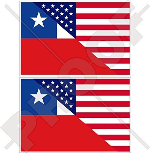 USA Vereinigte Staaten von Amerika und CHILE, Amerikanisch und Chilenische Flagge, Fahne 100mm Auto & Motorrad Aufkleber, x2 Vinyl Stickers