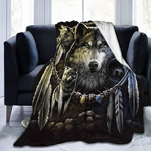 AEMAPE Coperta in Pile Wolf Dreamcatcher 1 Coperta da tiro Coperta Calda Coperta Morbida per Divano da Ufficio