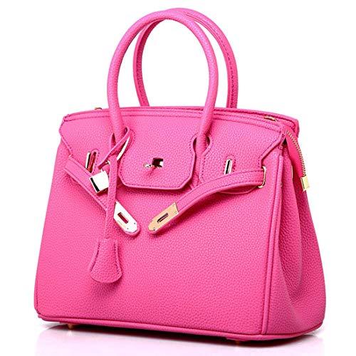 SPFTOY Damen Handtasche Set Geldbeutel Litschi-Muster Handytasche mit Quaste Rucksack PU Schultertasche Umhängetasche Brieftasche-Pink
