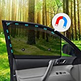 Ovege Car Side Window Sun Shade Mesh Suction Magnetic Car Curtain UV Protection (Semi-Transparent, Front Seat 2pcs-)