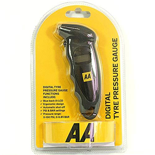 AA Digital Tyre Pressure Gauge AA1634 - Easy to Use on Cars Motorbikes Vans...