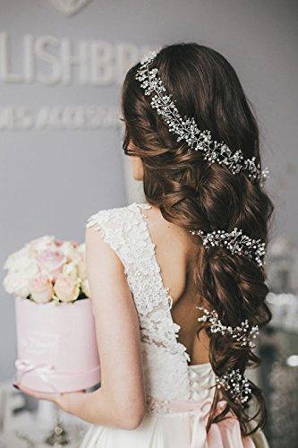 Aukmla Hochzeits-Stirnbänder, langer, glänzender Haarschmuck, Brautschmuck, Kristall-Haar-Accessoires für Brautjungfer und Braut