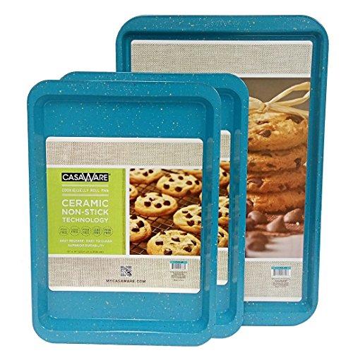 casaWare 3pc Multi-Size Cookie Sheet/Jelly Roll Pan Set (Blue Granite)