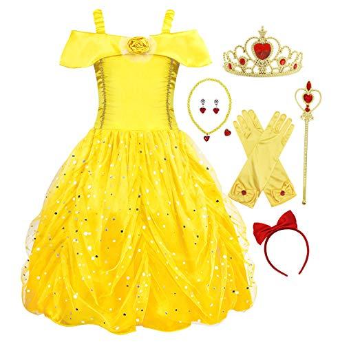 Cotrio Vestido de Halloween Belle meninas fantasia de festa de aniversário da princesa Cosplay com acessórios de 7 peças tamanho 3-4 anos amarelo