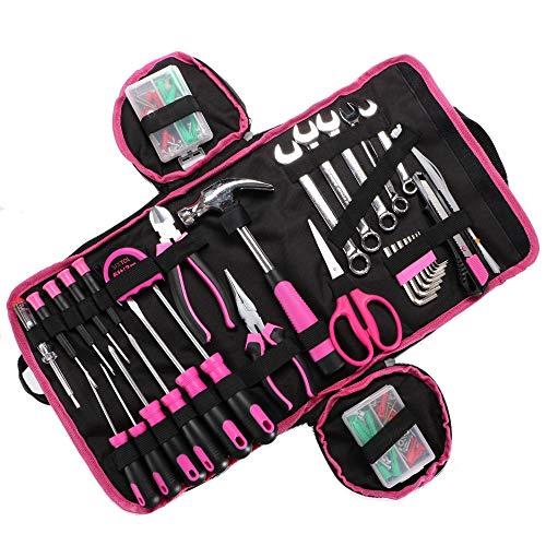 SIXTOL HOME PINK 120 Teile in einem Werkzeugsatz | Frauen Heimwerkzeugkoffer | Ideales Geschenk für Frauen Bastler Handwerker | Werkzeugset