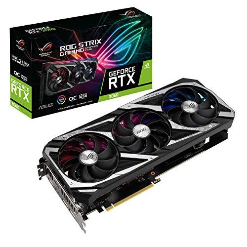 ASUS ROG Strix NVIDIA GeForce RTX 3060 OC Edition Gaming Graphics Card (PCIe 4.0, 12GB GDDR6, HDMI 2.1, DisplayPort 1.4a, Axial-tech Fan Design, 2.7-Slot, Super Alloy Power II, GPU Tweak II)