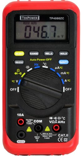 Tekpower TP4000ZC PC Based RS232 Interfaced Auto Ranging Digital Multimeter, MS8220R Alike, Computer DMM