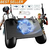 Manette de Jeu Mobile pour PUBG 5 en 1 Version Mise à Niveau de la Manette de Jeu Shoot and Aim Trigger Phone Cooling Pad Power...
