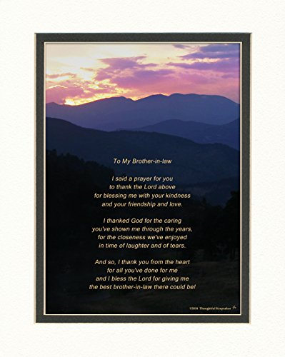 Brother in Law Gift, Thank You Prayer for Brother in law Poem. Mt Sunset Photo, 8x10 Double Matted. Birthday or Christmas.