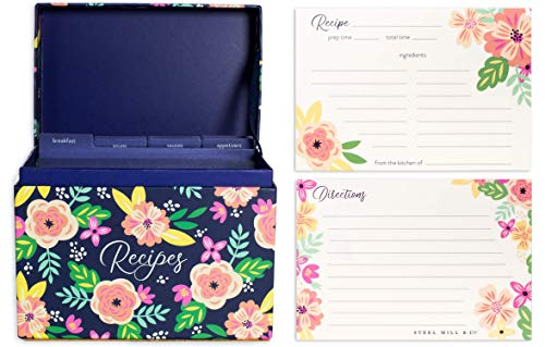 Steel Mill amp Co Cute Recipe Box with Cards and Dividers 8 Labeled Tab Organizers and 40 Recipe Cards Mint Floral Navy