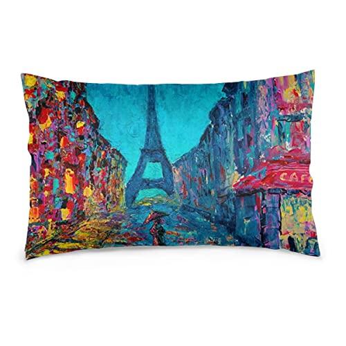 Fundas de Almohada 16X24 Pulgadas Paris Street Art Painting Throw Pillow Fundas Sofá Funda de cojín de Coche Decorativo para el hogar 40X60CM