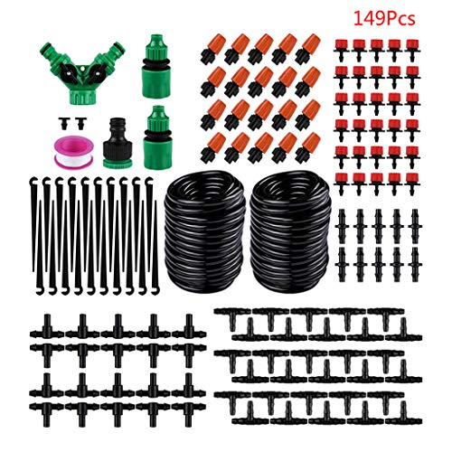 Sayletre Drip Irrigation Kit 149ft/30m Adjustable Garden Automatic Irrigation System with DIY Plant Garden Hose Watering Irrigation for Landscape, Flower Bed, Patio Plants