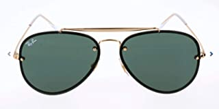 RAY-BAN RB3584N Blaze Aviator Sunglasses, Gold/Dark Green, 61 mm