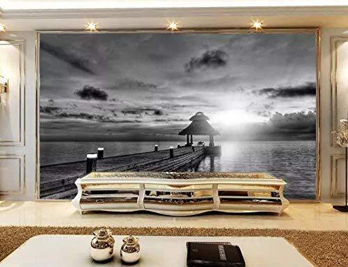 Behang 3D muurschildering Black and White Seascape houten brug paviljoen 3D muurschildering woonkamer sofa TV muur slaapkamer behang (W)250x(H)175cm (W)250x(h)175cm