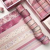 Tyelany Washi Tape Set Colorati, 12 Rotoli Washi Tapes Set, Washi Tapes Vintage Rotolo da 3m, con 1 Scatola, per Diario, Decorativo, Confezioni, Calendari (Larghezza 1cm, 1,5cm, 2cm, 3cm, Rosa)