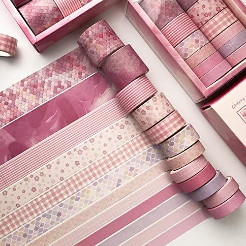 Tyelany Washi Tapes, 12 Rouleaux Washi Tape, Ruban de Papier Japonais 3m Chaque Rouleau, avec 1 Boîte, pour Journal, Bricolage, Décoratif, Emballage, Calendriers (Largeur 1cm, 1,5cm, 2cm, 3cm, Rose)