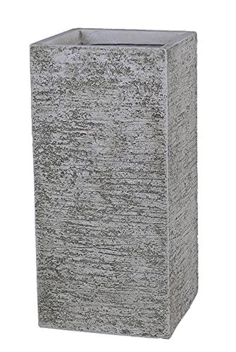 FJYAYUAN GA30-2298-2 Antique Beige Tall Square Concrete Planter Pots   Unique Design   Handicraft   UV-Resistant and Eco - Friendly   Designed with Blind Drainage Hole (11.0''x11.0''xH24)