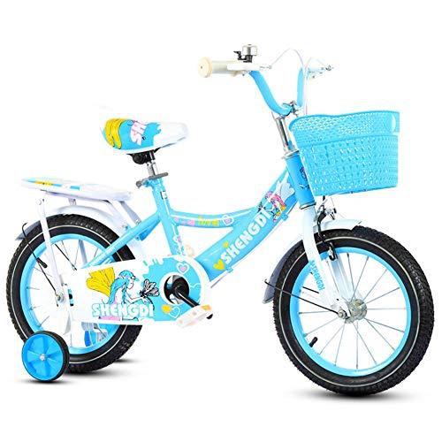 Kinderfiets meisjes voor 2-9 jaar oud kinderfiets 12 14 16 inch met steunwiel kinderfiets kinderfiets, blauw, 12 inch