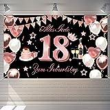 18. Geburtstag mädchen Banner Deko, Rose Gold Banner Alles Gute zum 18.Geburtstag, geschenke zum 18. Geburtstag mädchen, Happy Birthday Hintergrund deko für 18 Tochter.