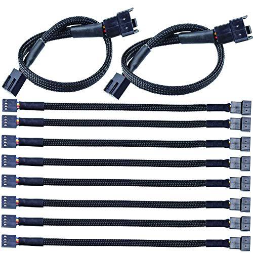 VISSQH 10pcs 4 Pin PWM Fan Hub Cable Extensor Ventilador PC PWM Cables de Ventilador Cable de Alimentación de Ventilador Macho a Hembra Compatible con Ventilador de 4 Pin 3 Pin(27CM)
