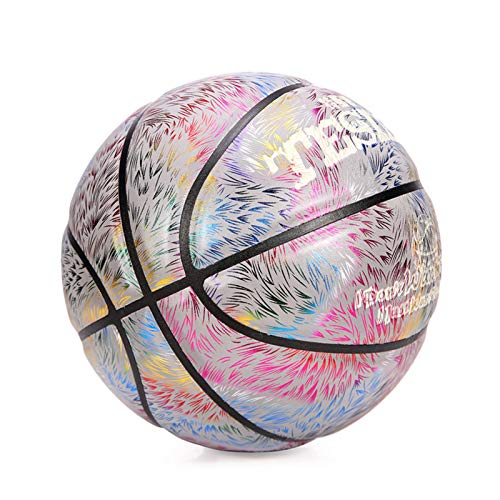 adfafw Baloncesto Reflectante Brillante holográfico, Baloncesto Reflectante Luminoso n. 7, Pelota de Entrenamiento Escolar de Baloncesto de Colores nocturnos para niños Adolescentes approving