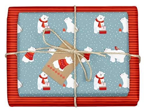 """Paperandpicture.de - 4 fogli di carta da regalo natalizia per bambini motivo """"orso polare"""" formato DIN A2 (ecologico, carta riciclata) incluse 4 etichette per bambini e bambine celeste e rosso"""
