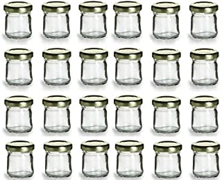 PremiumVials 24 pcs, 1 oz Mini Glass HONEY Jars for Jam, Honey, Wedding Favors, Shower Favors, Baby Foods, DIY Magnetic Spice Jars (24, 1 oz Honey w/Gold Lids)