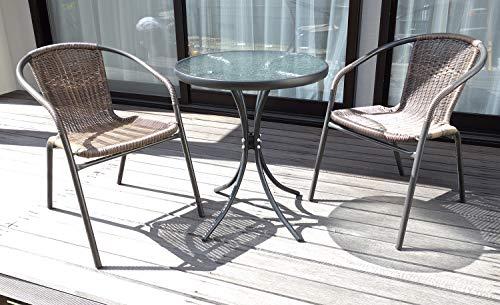 ガーデンセット 椅子2脚+ガラステーブルの3点セット 【椅子カラー:ラタン調】 ベランダ カフェ テラス アウトドア 庭 ラタン