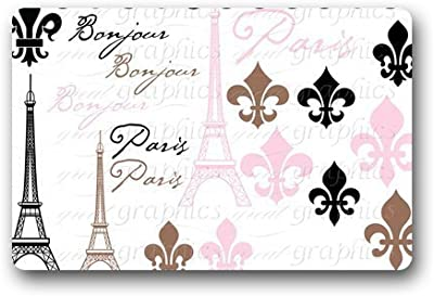 Customize New Fashion Design Decorative Funny Retro Vintage Welcome Paris Doormat Indoor/Outdoors Decor Mat Rugs 15.7 X23.6 inch