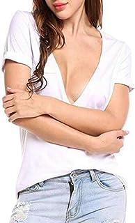 Zantt Womens Tops Solid Deep V Neck Short Sleeve Slim Shirts Blouse