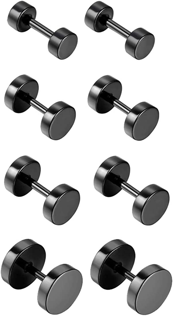 Flongo 8PCS 4 Pairs Stainless Steel (3mm,5mm,7mm,9mm) Black Tapers Cheater Faux Fake Ear Plugs Gauges Stud Earrings Set