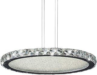 Mantra Igan - Lampada pendente circolare a LED, 44 W, collezione Crystal, finitura cromata lucida e cristalli