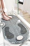 Alfombrillas de Ducha Alfombrilla de Baño Antideslizantes 40x80 CM PVC Alfombrillas de Masaje Alfombrilla para Pies con Piedra Pómez Extraíble Alfombrilla Baño con Ventosas y Orificios de Drenaje