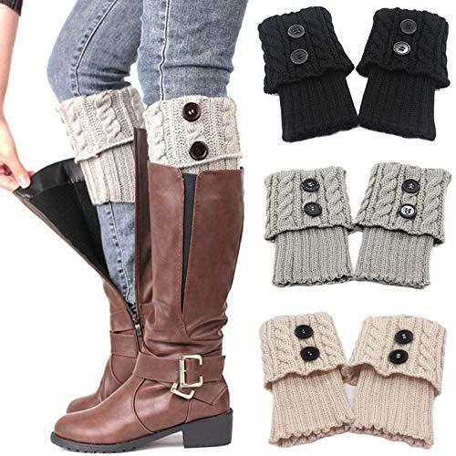 3 Pares Calentadores Piernas Mujer Calcetines de Punto Invierno Tejidos Cálidos Botón Calientapiernas Cortas Ganchillo Cubierta para Botas y Botines (Negro/Gris/Beige)