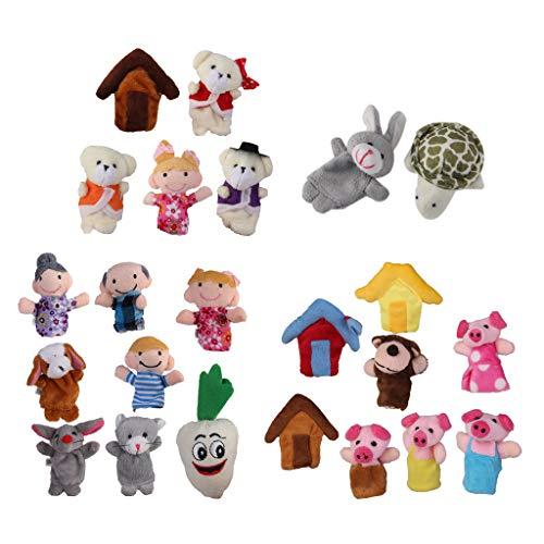 HomeDecTime 24 Piezas Marionetas de Dedo Cuento de Hadas Liebre Tortuga Peluche Juguetes Educativos para Bebés