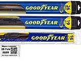 Windshield Wiper Blade Set/Kit/Bundle for 2010-2015 Toyota Prius - Driver, Passenger Blade & Rear Blade & Reminder Sticker (Hybrid with Goodyear Rear)