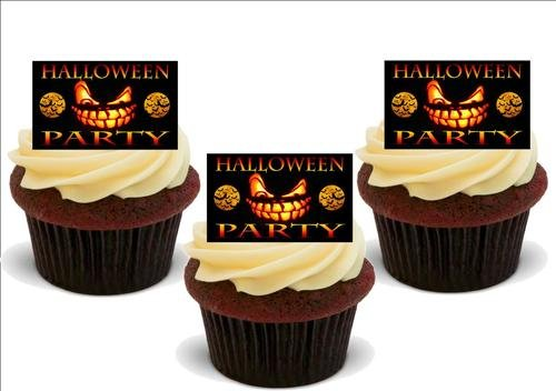 Orange und schwarzes gespentisches HALLOWEEN PARTY Schild- 12 essbare hochwertige stehende Waffeln Kuchen Toppers - Orange Black Spooky HALLOWEEN PARTY Sign