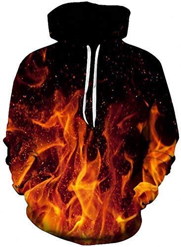 Loveternal 3D Kapuzenpullover Flamme Hoodie Galaxy Pullover Langarmshirts Leichte Sweatshirts mit Taschen M
