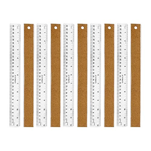 ACXMKEX Metal Ruler With Cork Backing, Precision Metal Rulers 12 Inch, Stainless Steel Straight Edge Ruler, Flexible Non Slip Inch and Metric Steel Ruler, Pack of 10